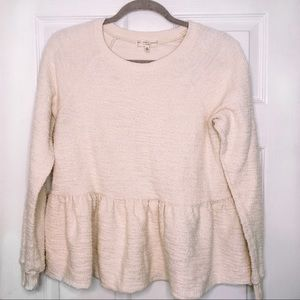Truly Madly Deeply Cotton Cream Peplum Top